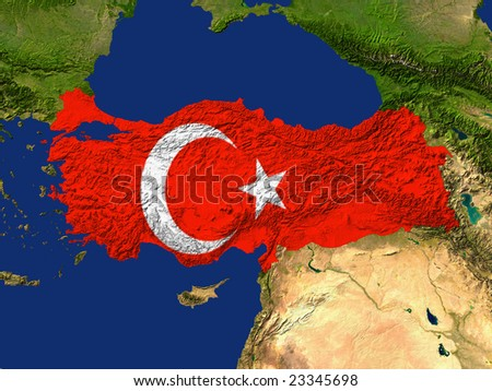 Highlighted Satellite Image Of Turkey With The Countries Flag Covering It