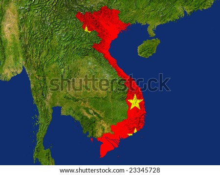 Highlighted Satellite Image Of Vietnam With The Countries Flag Covering It