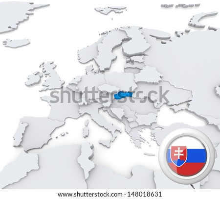 Highlighted Slovakia on map of europe with national flag - stock photo