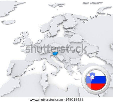 Highlighted Slovenia on map of europe with national flag - stock photo