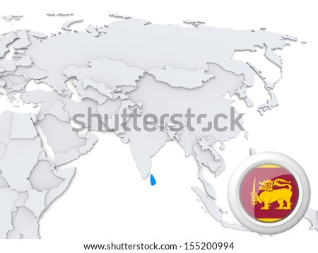 Highlighted sri lanka on map asia stock illustration 155200994 highlighted sri lanka on map of asia with national flag gumiabroncs Images