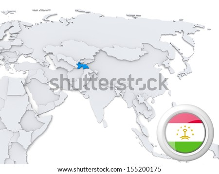 Highlighted Tajikistan on map of Asia with national flag - stock photo