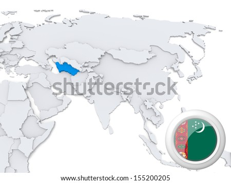 Highlighted Turkmenistan on map of Asia with national flag - stock photo