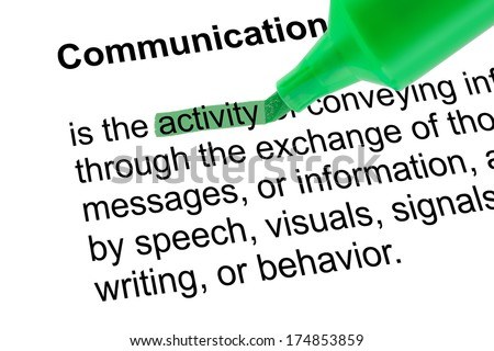 Highlighted word activity for Communication with green pen over white paper. Isolated white background.