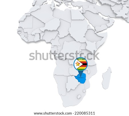 Highlighted Zimbabwe on map of Africa with national flag