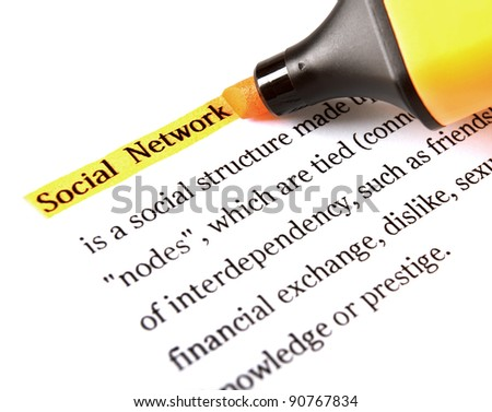 Highlighter and word social network concept background - stock photo