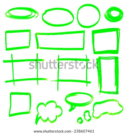 Highlighter elements - hand drawn frames, green - stock photo