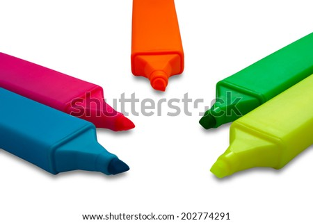 Highlighter Marker Pens in Five Different Colors - stock photo