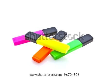 Highlighter marker pens, isolated on white. - stock photo