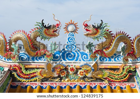 Highly colorful golden dragon in a Chinese temple
