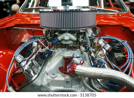 Highly customized car engine in a rebuilt muscle car - all copyright materials removed - stock photo