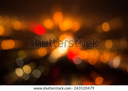 Highly defocused street lights in different color and blur effect - stock photo