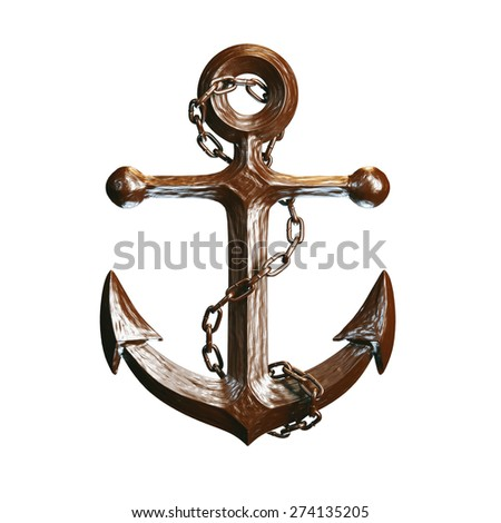 Highly detailed anchor made of chocolate isolated on white background. - stock photo