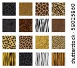 Highly detailed animal skin vector pack - 16 different pattern - stock vector