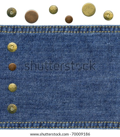 Highly detailed closeup - a piece of worn blue denim with sewed sides and set of various jeans' metal rivets and buttons, isolated on white background - stock photo