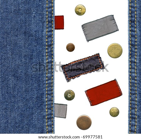 Highly detailed closeup - set of various cotton jeans' labels, metal rivets and buttons, worn blue denim, isolated on white background - stock photo