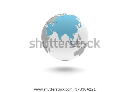 Highly detailed 3D planet Earth globe with grey continents in relief and white oceans, centered in blue full Asia - stock photo