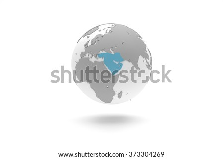 Highly detailed 3D planet Earth globe with grey continents in relief and white oceans, centered in blue Middle East - stock photo