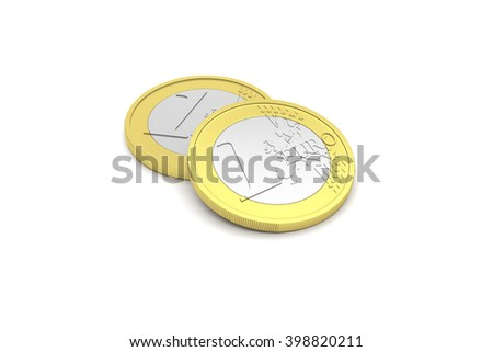 Highly detailed 3D render illustration of two one euro coins - stock photo