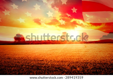 Highly Detailed 3d Render of an American flag against countryside scene - stock photo