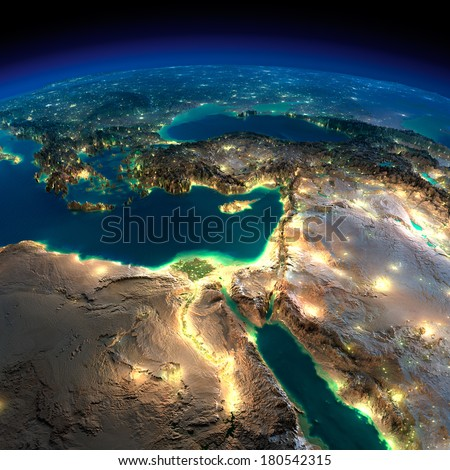 Highly detailed Earth, illuminated by moonlight. The glow of cities sheds light on the detailed exaggerated terrain. Night Earth. Africa and Middle East. Elements of this image furnished by NASA - stock photo