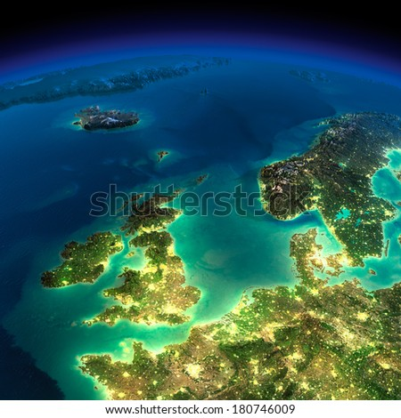 Highly detailed Earth, illuminated by moonlight. The glow of cities sheds light on the detailed exaggerated terrain. Night. United Kingdom and the North Sea. Elements of this image furnished by NASA - stock photo