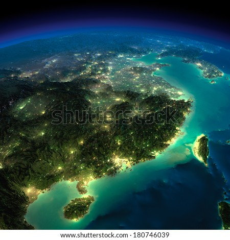 Highly detailed Earth, illuminated by moonlight. The glow of cities sheds light on the detailed exaggerated terrain. Night Earth. Eastern China and Taiwan. Elements of this image furnished by NASA - stock photo