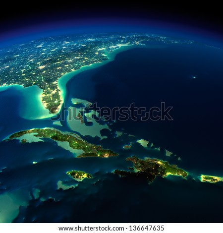 Highly detailed Earth, illuminated by moonlight. The glow of cities sheds light on the exaggerated terrain and translucent water. Bermuda Triangle area. Elements of this image furnished by NASA - stock photo