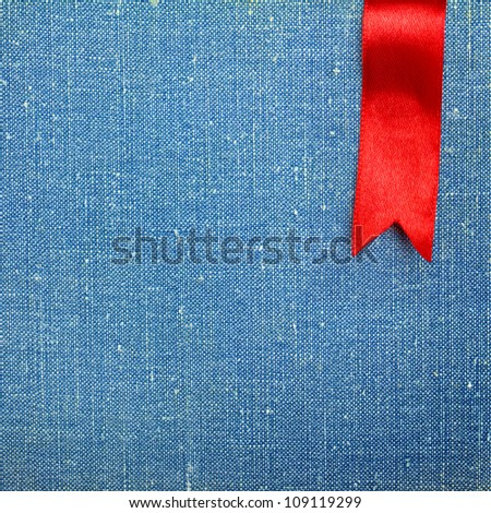 Highly detailed fabric texture with ribbon - stock photo