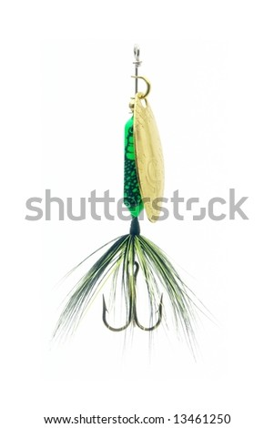 Highly detailed fishing lure isolated on white. - stock photo