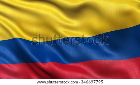 Highly detailed flag of Colombia waving in the wind. - stock photo