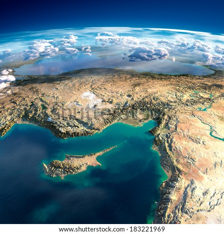 Highly detailed fragments of the planet Earth with exaggerated relief, translucent ocean, illuminated by the morning sun. Cyprus, Syria and Turkey. Elements of this image furnished by NASA - stock photo