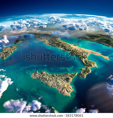 Highly detailed fragments of the planet Earth with exaggerated relief, translucent ocean and clouds, illuminated by the morning sun. Italy. Elements of this image furnished by NASA - stock photo