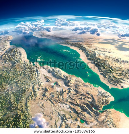 Highly detailed fragments of the planet Earth with exaggerated relief, translucent ocean and clouds, illuminated by the morning sun. Red Sea. Elements of this image furnished by NASA - stock photo