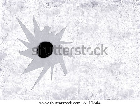 Highly detailed illustration of a bullet hole in aged textured background