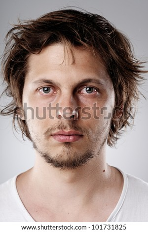 Highly detailed image of a young attractive man (more than 100 faces in this collection in my portfolio) - stock photo