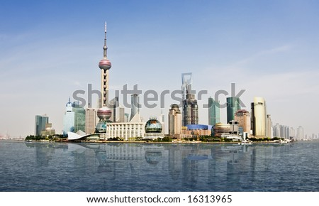 Highly detailed image of the current Shanghai Skyline, home of the World Business Expo 2010. Extremely clear sky with plenty of room for copy space - stock photo
