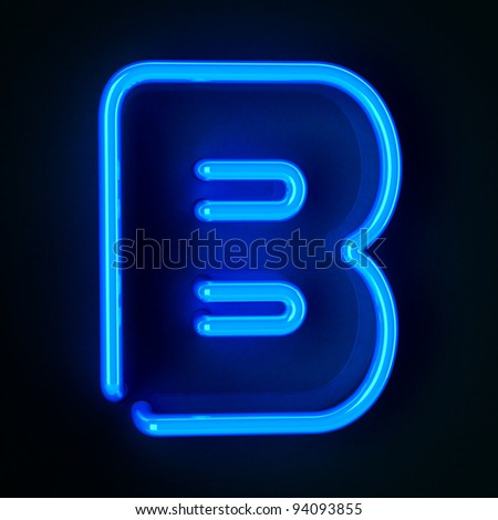 Highly detailed neon sign with the letter B - stock photo