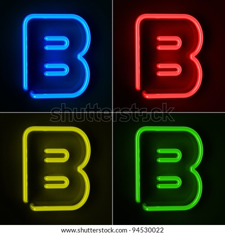 Highly detailed neon sign with the letter B in four colors - stock photo