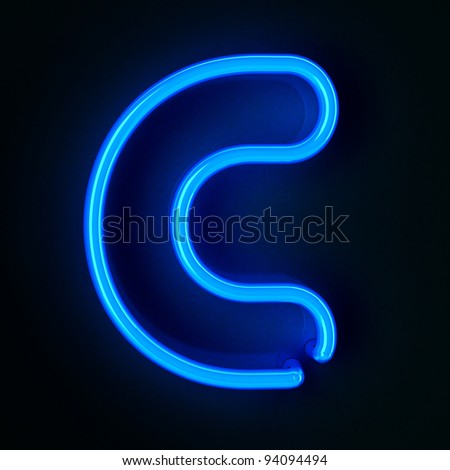 Highly detailed neon sign with the letter C - stock photo
