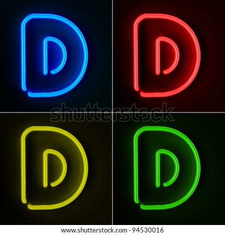 Highly detailed neon sign with the letter D in four colors - stock photo