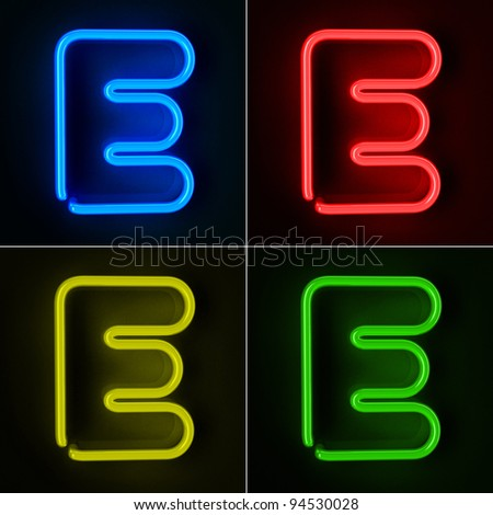 Highly detailed neon sign with the letter E in four colors - stock photo