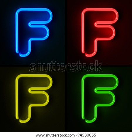Highly detailed neon sign with the letter F in four colors - stock photo