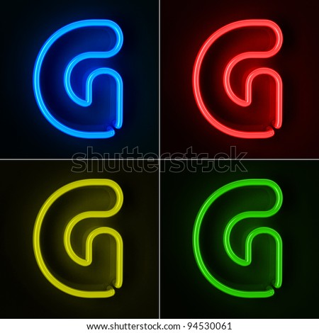 Highly detailed neon sign with the letter G in four colors - stock photo