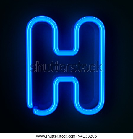 Highly detailed neon sign with the letter H - stock photo