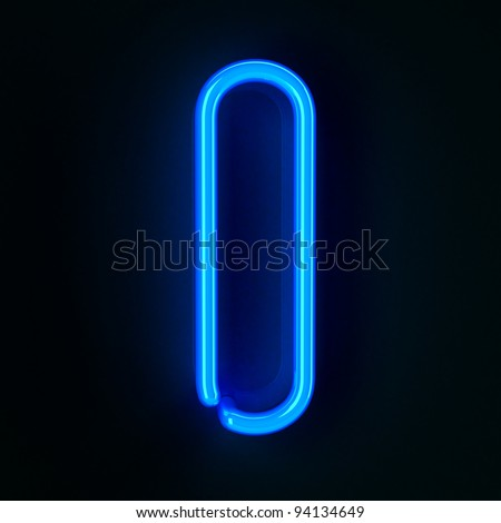 Highly detailed neon sign with the letter I - stock photo