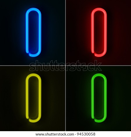 Highly detailed neon sign with the letter I in four colors - stock photo