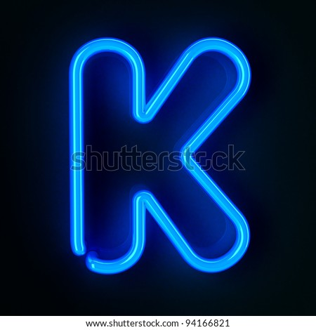 Highly detailed neon sign with the letter K - stock photo