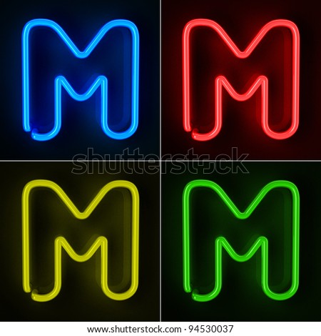 Highly detailed neon sign with the letter M in four colors - stock photo