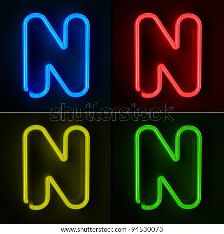 Highly detailed neon sign with the letter N in four colors - stock photo